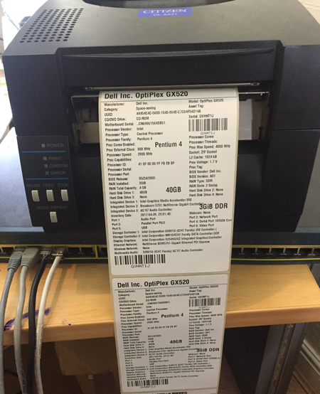 ZPL Printer thermal labels for Network inventory items pxe boot